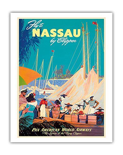 (Fly to Nassau by Clipper - New Providence Island, The Bahamas - Pan American World Airways (PAA) PAN AM - Vintage Airline Travel Poster by Mark Von Arenburg c.1950s - Fine Art Print - 11in x 14in )