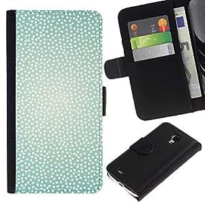 For Samsung Galaxy S4 Mini i9190 MINI VERSION!,S-type® White Teal Spots Bright Summer Sun Warm - Dibujo PU billetera de cuero Funda Case Caso de la piel de la bolsa protectora