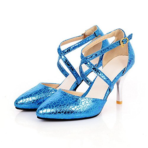 VogueZone009 Womens Closed Pointed Toe Burst Crack Solid Pumps with Pattern Blue Qw3i8yfx8Q