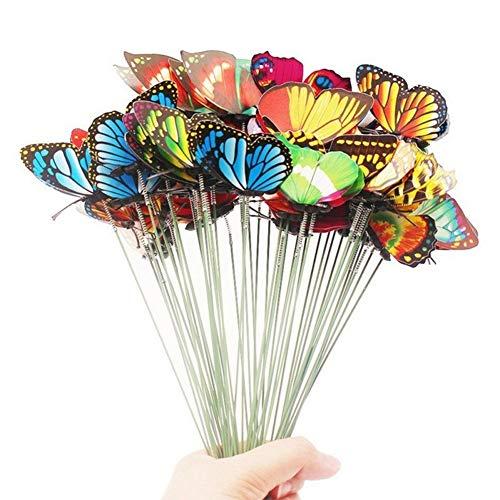 Yamalans 15pcs/Set Artificial Simulation Butterfly Stakes Garden Yard Patio Flowers Pot Plant Lawn Decoration Random Color & Style ()