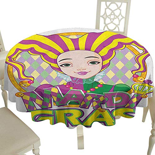 Cranekey Picnic Round Tablecloth 50 Inch Mardi Gras,Carnival Girl in Harlequin Costume and Hat Cartoon Fat Tuesday Theme Yellow Purple Green Great for,Bar & More]()