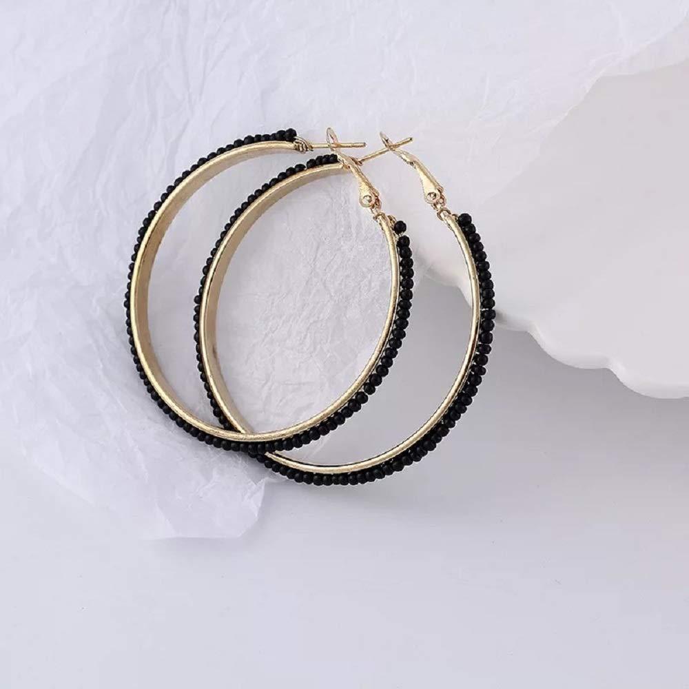 Gold Plated Small Hoops Earring Black Dangle Earrings Bead Round Earrings White Teardrop Earrings