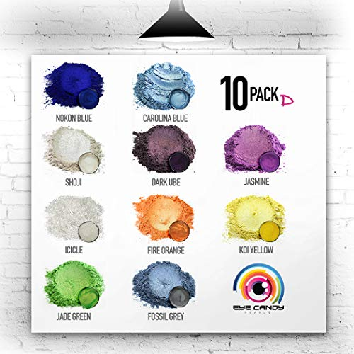 (Eye Candy Mica Powder - Pigment Powder 10-Pack Set D - Colorant for Epoxy - Resin - Woodworking - Soap Molds - Candle Making - Slime - Bath Bombs - Nail Polish - Cosmetic Grade - Non-Toxic)
