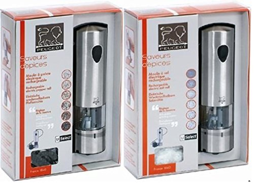 Peugeot Elis Rechargeable u''Select Stainless Steel Salt & Pepper Mill Set by PEUGEOT.