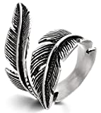 FIBO STEEL Stainless Steel Rings for Men Women Biker Ring Vintage Feather, Size 11