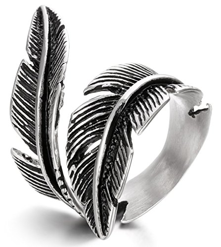 FIBO STEEL Stainless Steel Rings for Men Women Biker Ring Vintage Feather, Size 7-13