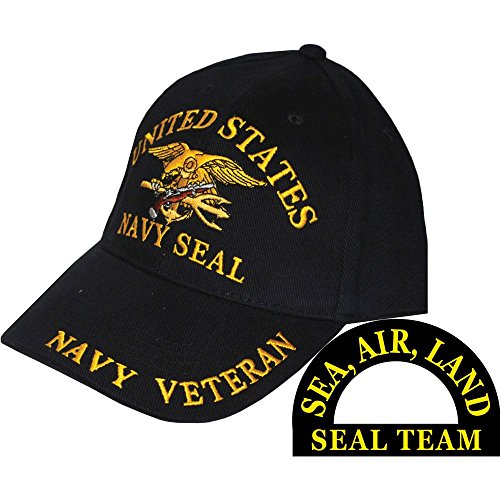 United States Navy Seal Team Trident Black Hat Cap USN - United States Navy Seal Seals