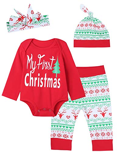Xmas Gift Outfit Set Baby Boys Girls My First Christmas Romper (Red, 6-12 Months)
