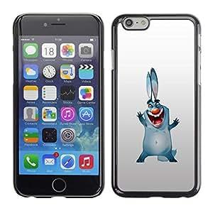 Slim Design Hard PC/Aluminum Shell Case Cover for Apple Iphone 6 Bunny Dog Ears Big Blue Cartoon Drawing Smile / JUSTGO PHONE PROTECTOR