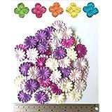 100 Purple Tone Mulberry Daisy Flowers Scrapbooking Embellishment