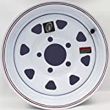 13'' x 4.5'' White Spoke with Red and Blue Pin Stripe Trailer Wheel 5 Lug 4.5'' Bolt Circle with Center Cap and Valve Stem