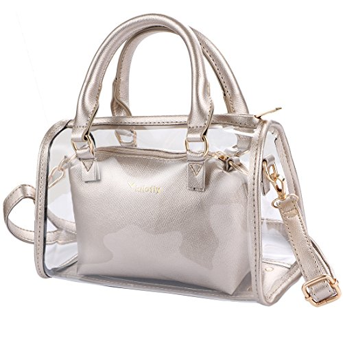 Handbag 2 Women's Shoulder Crossbody 1 Bag Clear kilofly Transparent Purse in Gold 5qfwdzqWYx