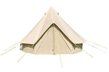 4 M Bell Tent con cremallera en suelo y estufa agujero. 100% lona de