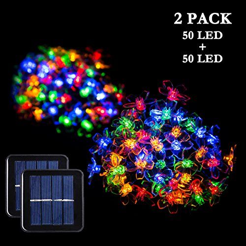 GIGALUMI 2 Pack Solar Strings Lights, 23 Feet 50 LED Flower Solar Fairy Lights, Garden Lights for Outdoor, Home, Lawn, Wedding, Patio, Party and Holiday Decorations- Multi Color by GIGALUMI
