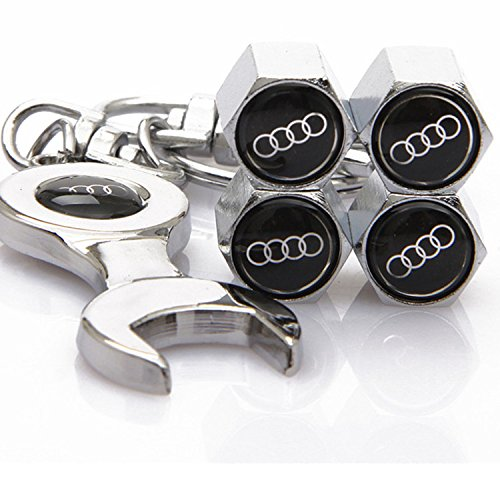 Set of 4 Tire valve stems Caps with Wrench Keychain For Audi