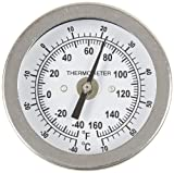 """PIC Gauge B2B2-BB 2"""" Dial Size, -40/160°F and -40/71°C, 2'' Stem Length, Back Angle Connection, Stainless Steel Case, 316 Stainless Steel Stem Bimetal Thermometer"""