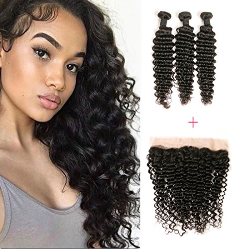 DAIMER Brazilian Deep Wave With Frontal 100% Unprocessed for sale  Delivered anywhere in USA
