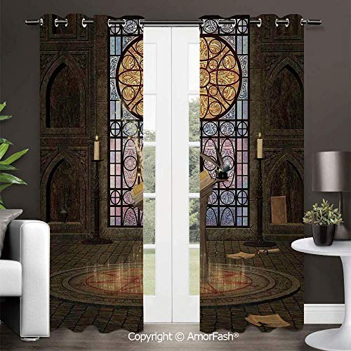 - Blackout Curtains Room Darkening Thermal Insulated Curtain Panels for Living Room,42x96 Inch Gothic Lectern on Pentagram Symbol Medieval Architecture Candlelight in Dark Spell Altar
