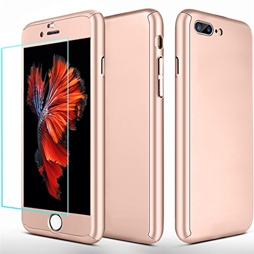 iPhone 7 Plus Case, iPhone 8 Plus Case,SEEKFULL 360 Full Body Protection Ultra-thin Hard Slim Case with [Tempered Glass Screen Protector]case for Apple iPhone 7 Plus,iPhone 8 Plus Case (Rose Gold)