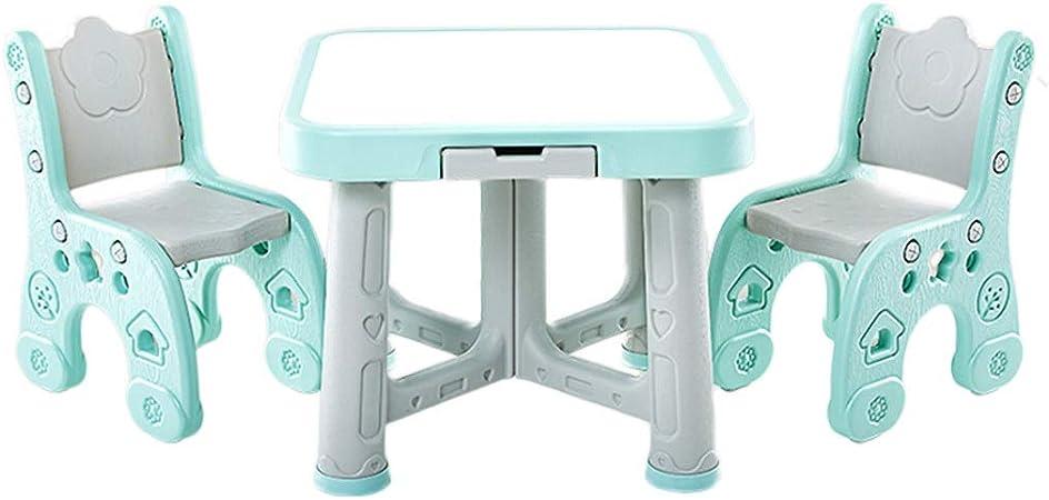 Juegos de mesas y sillas Mesa para Niños Jardín De Infantes 1 Mesa 2 Sillas Mesa De Estudio Multifunción para El Hogar Conjunto De Mesa Y Silla De Plástico Plegable: Amazon.es: Hogar