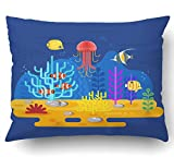 Emvency Pillow Covers Decorative Flat Style Coral Reef With Fish For Web on blue Bulk With Zippered 20x26 Standard Size Pillow Case For Home Bed Couch Sofa Car One Sided