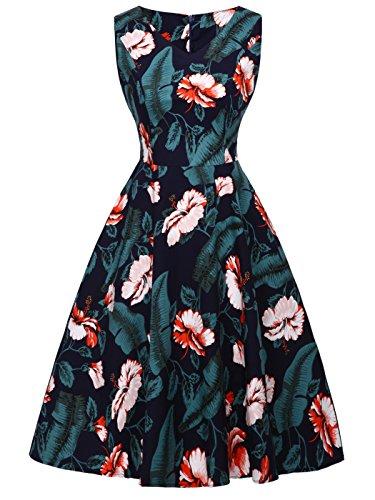 Azul Hojas Vintage 1950S FAIRY Baile Lunares L DRT072 COUPLE Marino Verde de Rockabilly Vestido SHOvCq