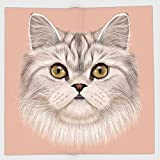 Cotton Microfiber Hand Towel,Cat,Portrait of Domestic Persian Cat with Whishers Siamese Character Furry Animal Paint,Pink Beige,for Kids, Teens, and Adults,One Side Printing