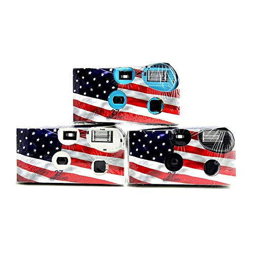 Film Flags - Disposable Cameras 35mm Film 27Exp + Flash Single Use USA American Flag (3-Pack)