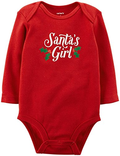 Carter's Baby Girls' Slogan Bodysuit (Baby) - Santas Girl - 12 Months]()