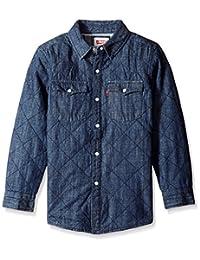 Levis Big Boys Delgada Quilted Shirt Jacket Denim, Denim, Small