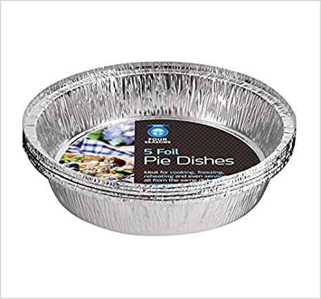 Four Season 5 Foil Pie Dishes With Lids Disposable Aluminium Foil Baking//Roasting Pan//Tray Pack of 5, 10, 15, 20 And 25 Pack of 25