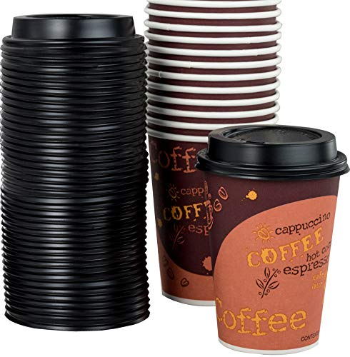 Plastic Cups Drink Lids Hot - Restaurant Grade 12 Oz Paper Coffee Cups With Recyclable Dome Lids. 100 Pack By Avant Grub. Durable, BPA Free Disposable Designer Cups For Hot Drinks At Kiosks, Shops, Cafes, and Concession Stands