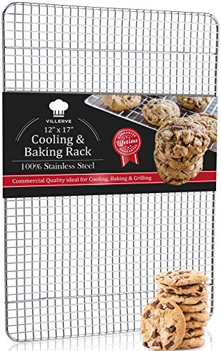 Villerve Stainless Steel Baking Rack and Cooling Rack 12'' x 17'' Chef Grade Commercial Quality - fits Half Sheet Pan, Strengthened Wire Grid Pattern by Villerve