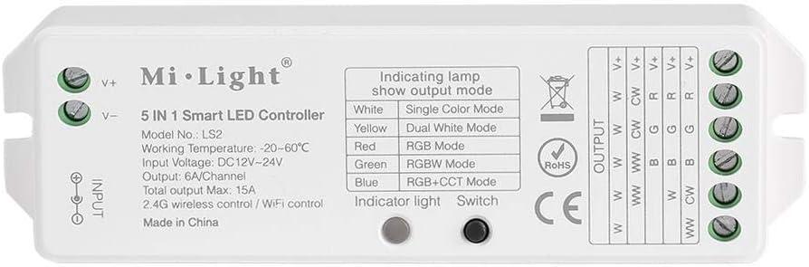 Milight Controller, 5 en 1 controlador inalámbrico LED para luces de tira de color único/CCT / RGB/RGBW / RGB + CCT