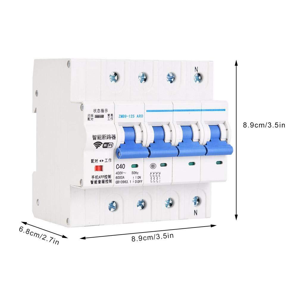 disyuntor wifi duradero Disyuntor de 400 V apartamento para el hogar disyuntor inteligente WiFi 4P de f/ácil operaci/ón 25A disyuntor inal/ámbrico