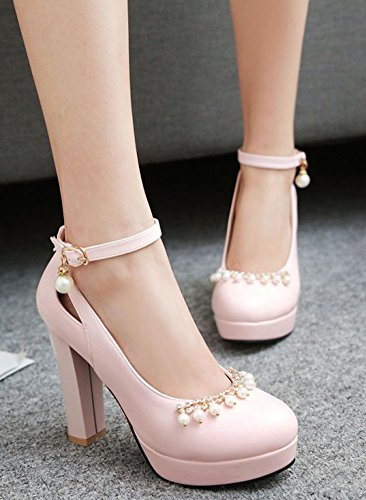 Easemax Womens Dressy High Chunky Heels Pumps Shoes With Beads Pink 6N5PbJTH