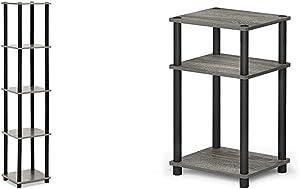 FURINNO Turn-N-Tube 5-Tier Corner Square Rack Display Shelf, Round, French Oak Grey/Black & Just 3-Tier End Table, 1-Pack, French Oak Grey/Black