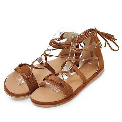 Con Plano Gladiador Sandalias Zapatos Cordones TAOFFEN Clasico Playa Marron Verano ORSqcqxTwp