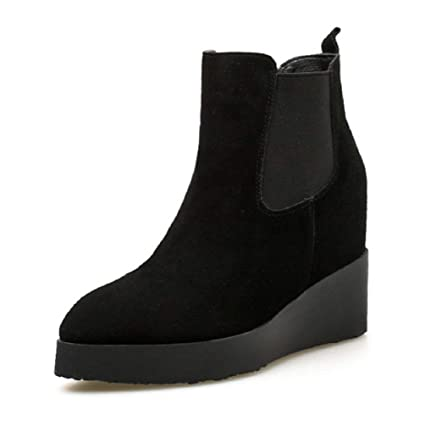 9ae5b90b387a SHANGWU Women Ladies Ankle Winter Boots Shoes New Womens Wedge Heel Chelsea  Chunky Cleated Platform