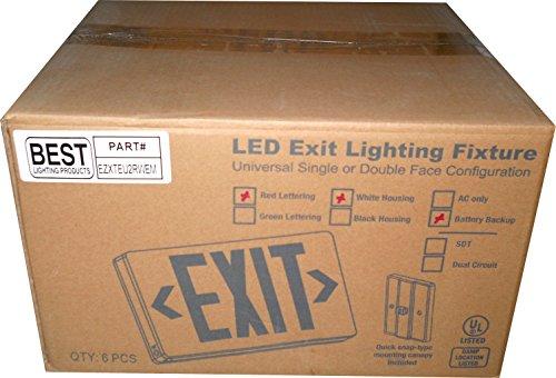 (BEL LED Exit Sign EZXTEU2RWEM Battery Backup Single/Double Face White, Case of 6)