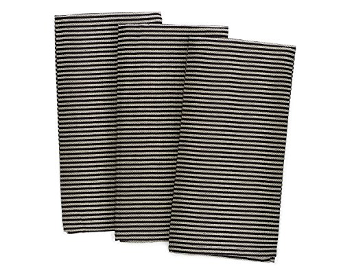 - Pacific Home 100% Cotton Pinstripe Soft Weave Dish Towels - Set of 3 - (Cream/Black)