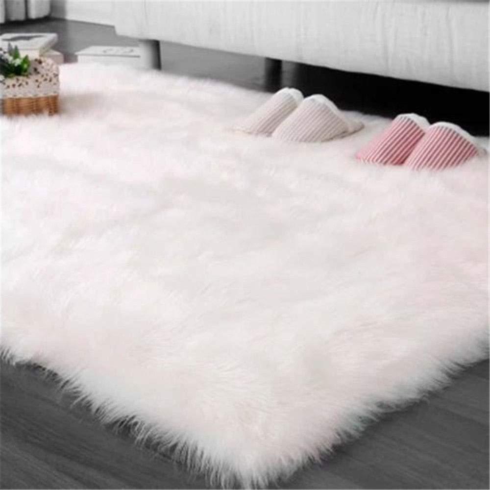 LOCHAS Stylish Fluffy Rug White Faux Fur Sheepskin Area Rugs for Bedroom, Soft Furry Rugs Bedside Living Room Carpet Nursery, 4x6 Feet by LOCHAS (Image #7)