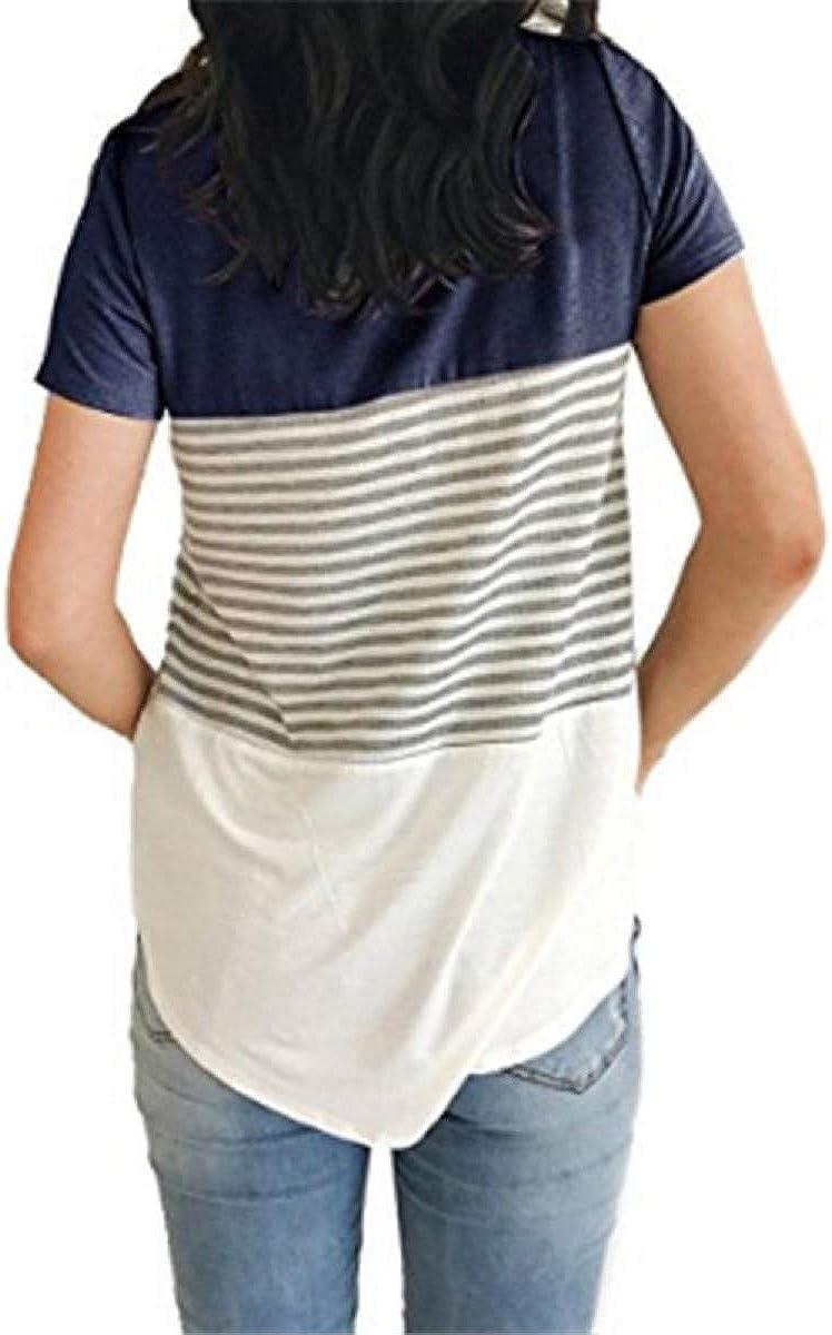 UMIPUBO T-Shirt Donna Striscia Tee Camicetta Casual Maglietta Manica Maniche Corta Top Girocollo Splicing Camicia Estate