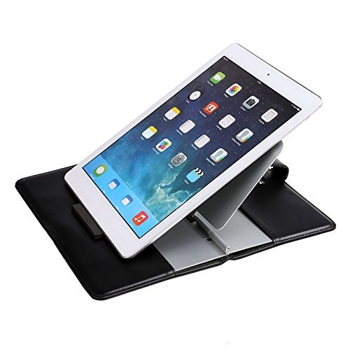 Price comparison product image COOCHEER Adjustable Tablet Stand,  Universal Folding leather stand for laptop,  iPad,  Ereaders and Smartphones with Aluminum holder