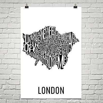Amazon.com: London Typography Neighborhood Map Art City Print ...