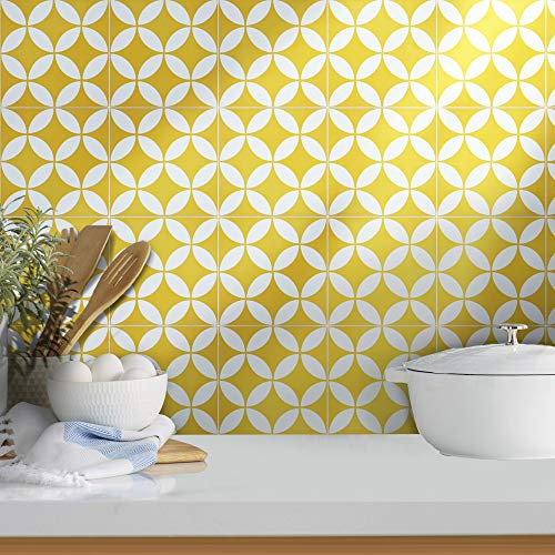 Moroccan Mosaic & Tile House CTP07-02 Amlo Handmade Cement Tile, Pack of 12, Yellow, White