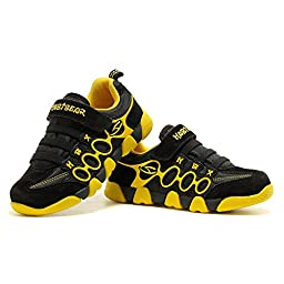 HOBIBEAR Boy\'s Girl\'s Kids Hook & Loop Light Weight Running Sneakers Shoes A597(3,Black/Yellow)