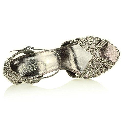 Mujer Señoras Noche Boda Party Alto tacón Stiletto Diamante Peep Toe Nupcial Sandalia Zapatos tamaño (Oro, Plata, Estaño) Estaño