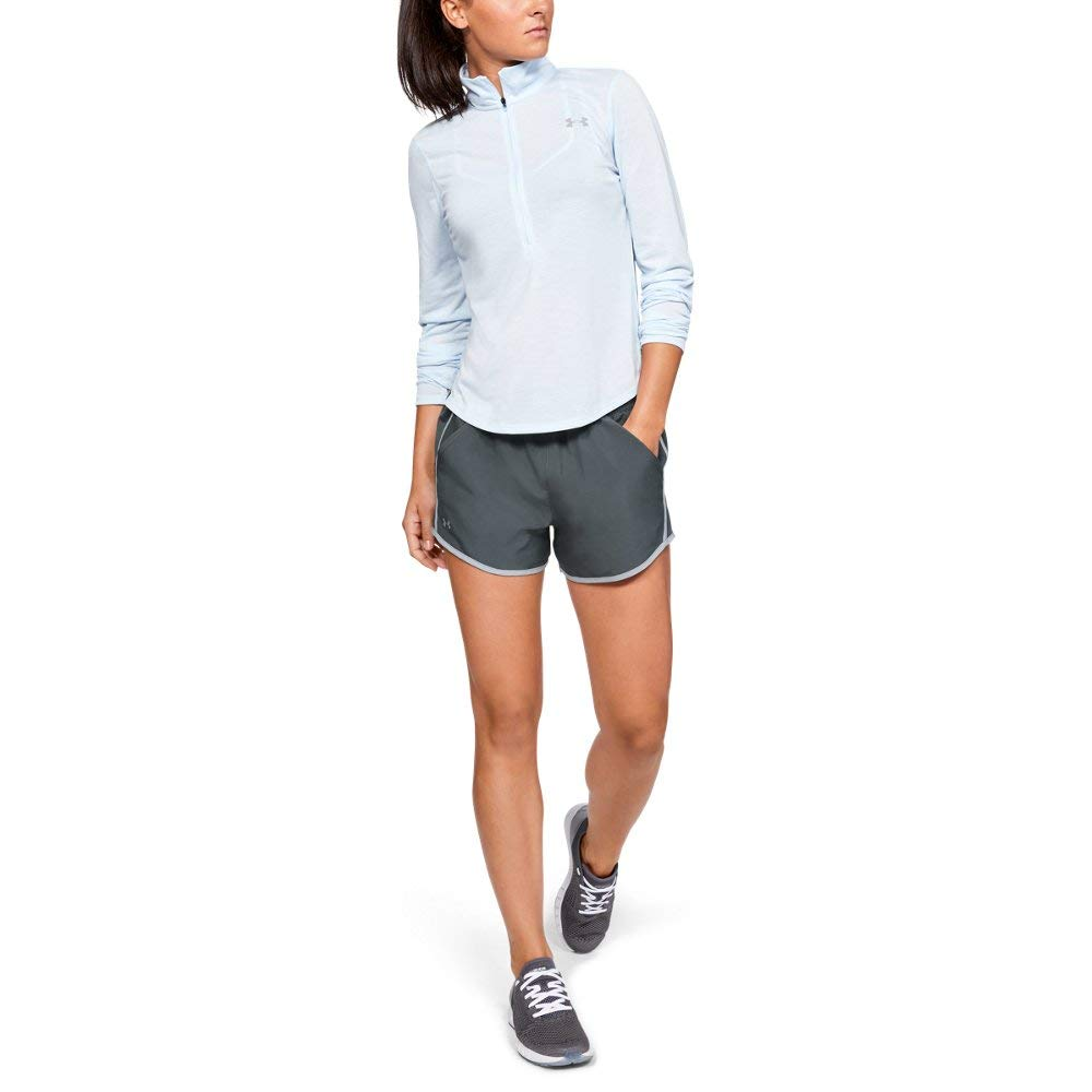 Under Armour womens Fly By Running Shorts, Grey (043)/Reflective, Small by Under Armour