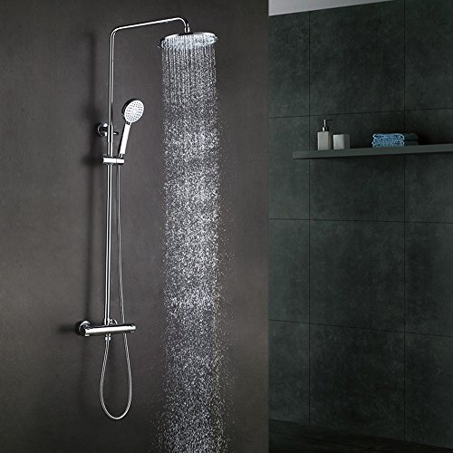 """KES Bathroom European Thermostatic Shower System 10"""" Rainfall Shower Head Adjustable Shower Bar Wall Mount DOUBLE FUNCTION, Polished Chrome, XM6000A KES Sanitary Ware"""